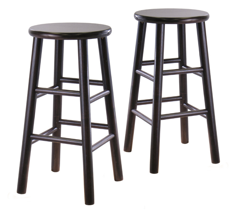 "Tabby 2-Pc 24"" Bar Stool Set Dark Espresso"