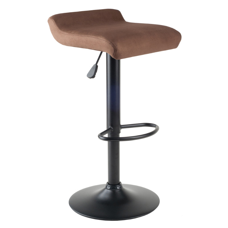 Marni Air Lift Stool, Micro Fiber Seat Top, Black and Stain Finish