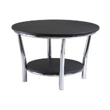 Maya round coffee table, black top, metal legs