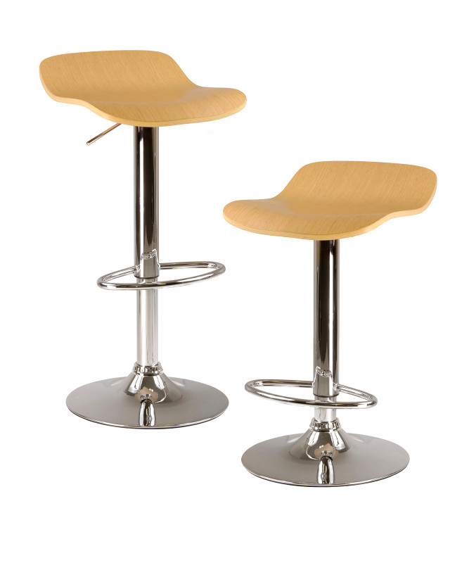 Kallie set of 2 Air Lift Adjustable Stool, Cappuccino Color Wood Veneer Top and Metal Base
