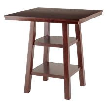 94034 Orlando High Table with Shelves, Walnut