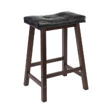 94064 Mona Cushion Saddle Seat Counter Stool, Black & Walnut