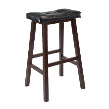 94069 Mona Cushion Saddle Seat Bar Stool, Black & Walnut