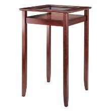 94127 Halo High Pub Table with Glass Display Shelf, Walnut