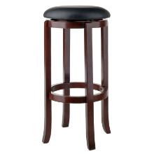 94160 Walcott Swivel Seat Bar Stool, Black & Walnut