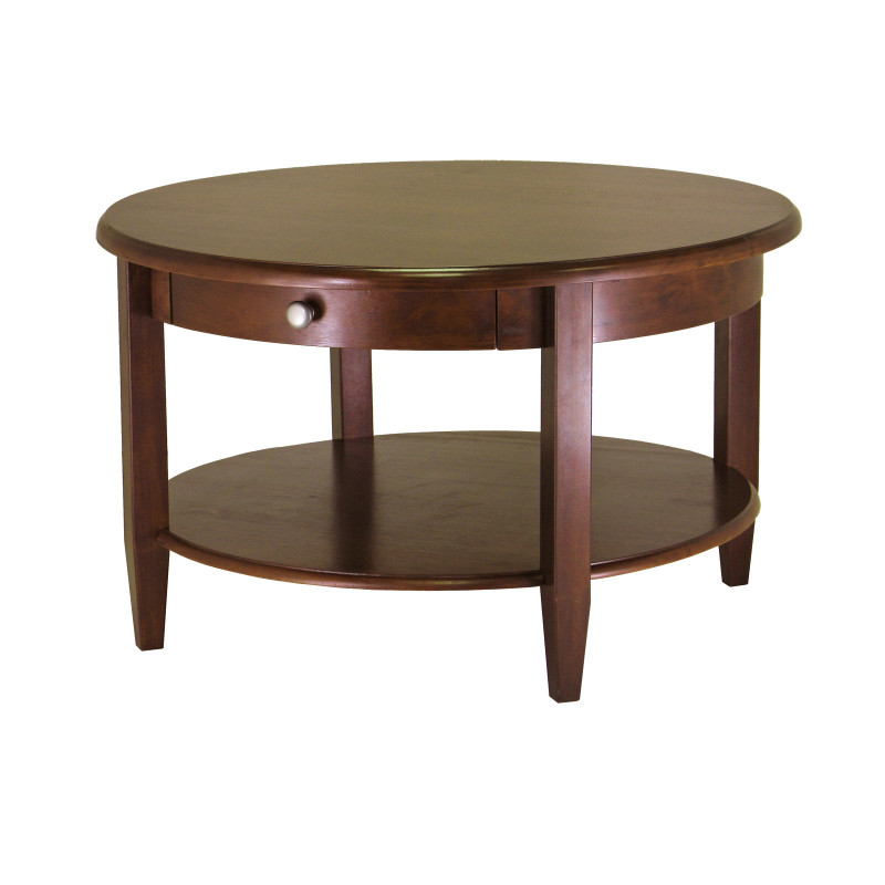Concord Round Coffee Table with Drawer and Shelf