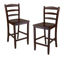"Benjamin 2-pc ladder back 24"" counter stool set antique walnut"