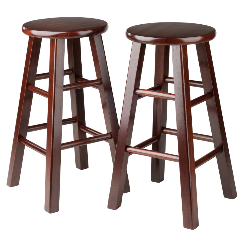 "Pacey 2-Pc 24"" Bar Stool Set Antique Walnut"