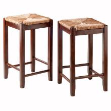 94284 Kaden Rush Seat Counter Stools, 2-Pc Set, Walnut