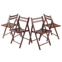 94415 Robin 4-Pc Folding Chair Set Walnut