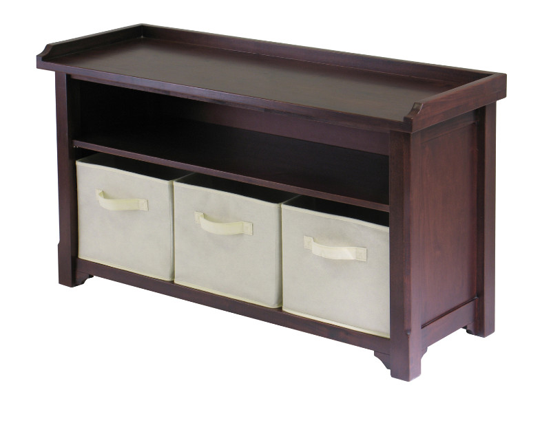 Verona Storage Bench with 3 Foldable  Beige Color Fabric Baskets