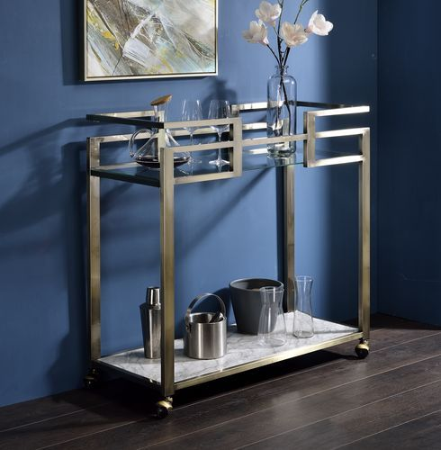 Acme AC00159 Neilo Orren ellis metallic finish metal frame glass top kitchen island tea / bar cart
