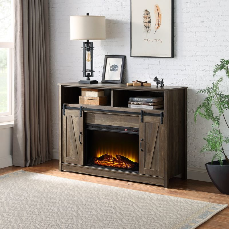 Acme AC00274 Gracie oaks gonsalves tobias rustic oak finish wood farmhouse style tv stand with barn door style doors and fireplace insert