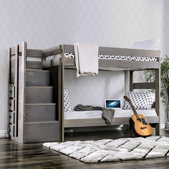 AM-BK102GY Ampelios rustic grey wood finish twin over twin bunk bed with staircase with drawers