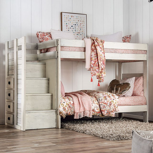 AM-BK102WH Ampelios rustic white wood finish twin over twin bunk bed with staircase with drawers