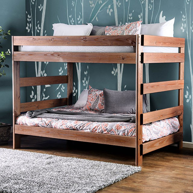 AM-BK200 Arlette rustic wood finish Full over Full bunk bed with solid pine construction Made in the USA