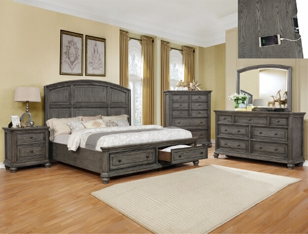 B1885 4 pc Lavonia gray antique rustic wood finish wood queen storage bedroom set