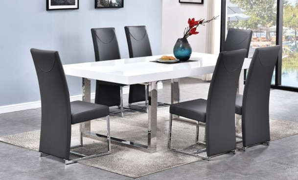 Best master BA222-grey-7pc 7 pc Broadway white high gloss finish and chrome modern dining table set