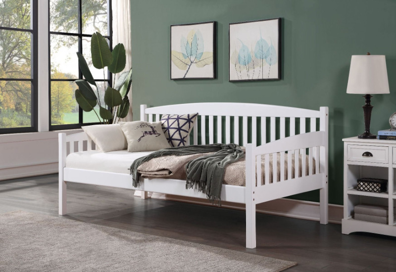 Acme BD00379 Red barrel studio genelda caryn white finish wood day bed with slats