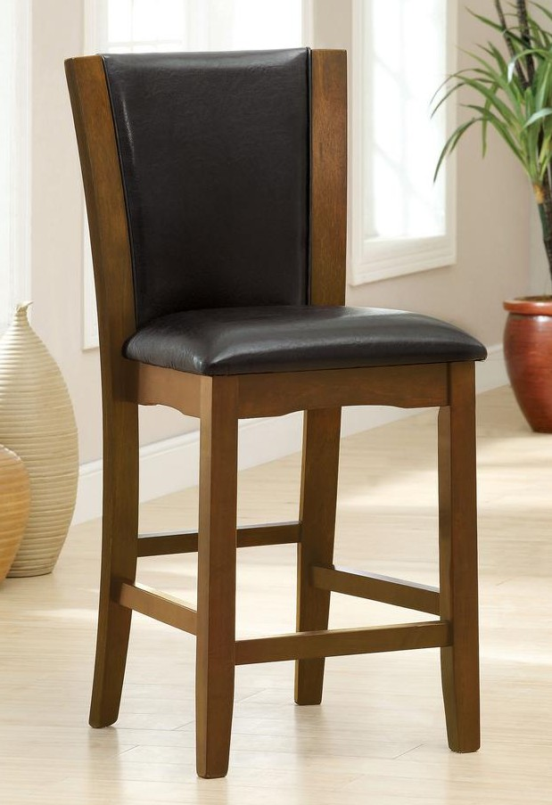 CM3710PC Set of 2 dark cherry finish wood counter height side chairs with black faux leather