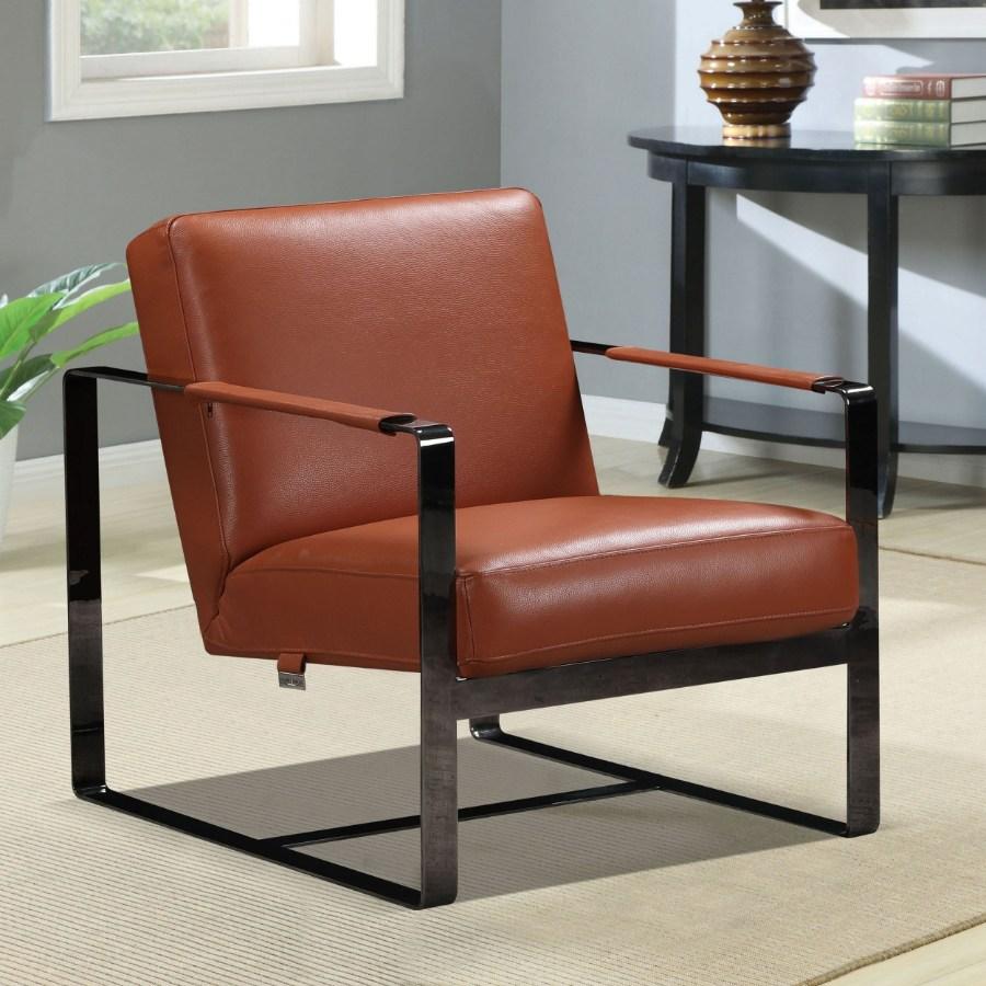 C67-Camel Orren ellis bumpy Divanitalia mid century modern camel top grain italian leather accent chair