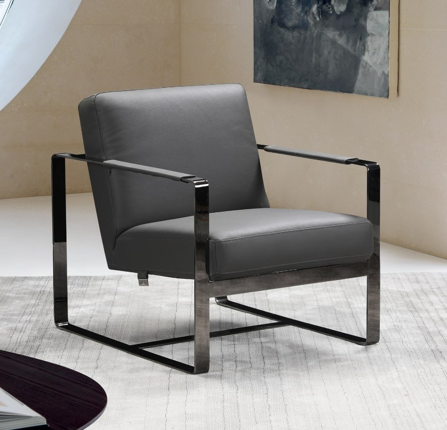 C67-Gray Orren ellis bumpy Divanitalia mid century modern gray top grain italian leather accent chair