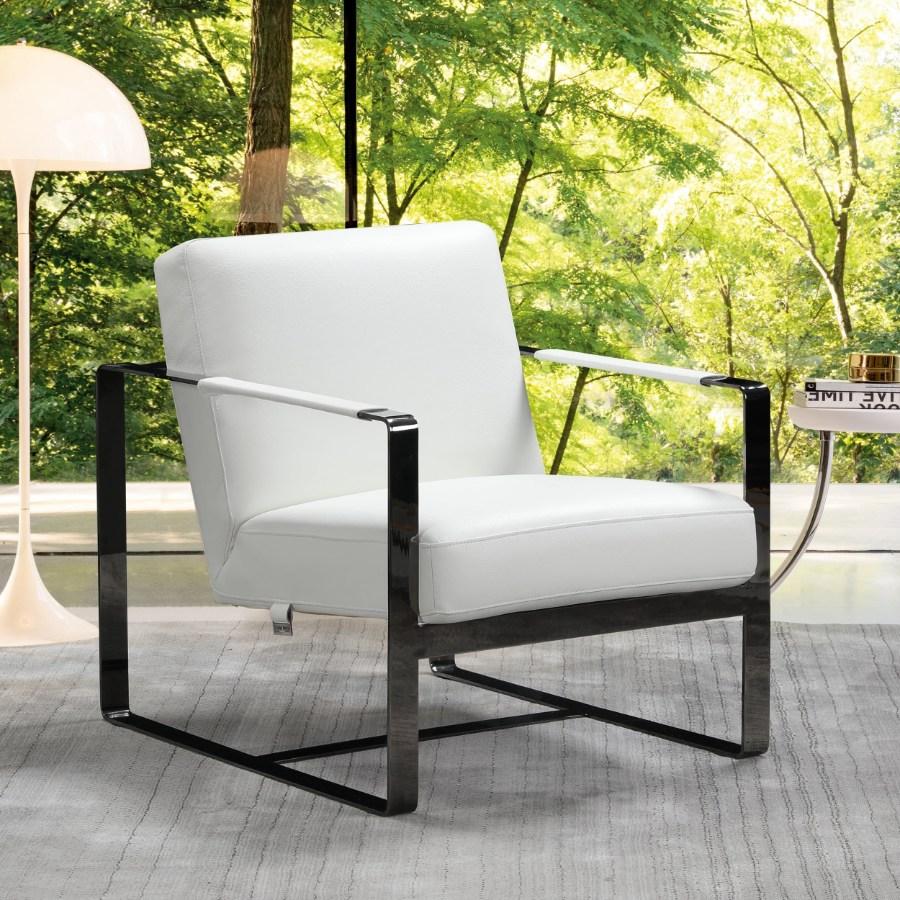 C67-White Orren ellis bumpy Divanitalia mid century modern white top grain italian leather accent chair