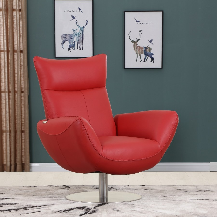 C74-Red Orren ellis amador Divanitalia mid century modern red top grain italian leather accent chair