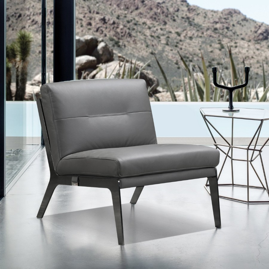 C81-Gray 17 Stories Benavidez Divanitalia mid century modern gray top grain italian leather accent chair