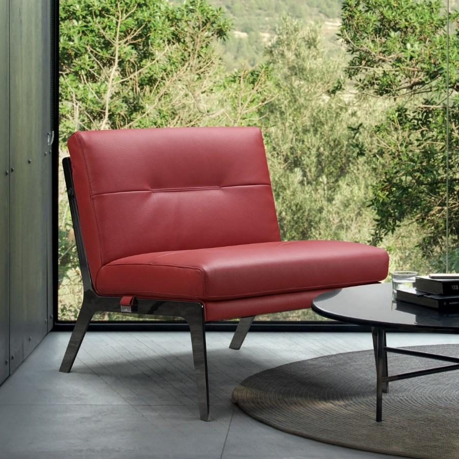 C81-Red 17 Stories Benavidez Divanitalia mid century modern red top grain italian leather accent chair