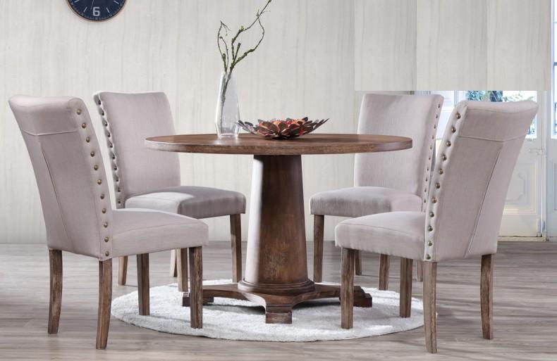 Best master Carey-5pc 5 pc Carey antique natural oak finish round wood dining table set