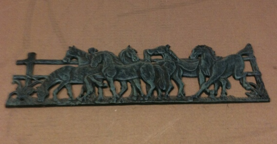 Cast iron antique green wild horses wall hanger
