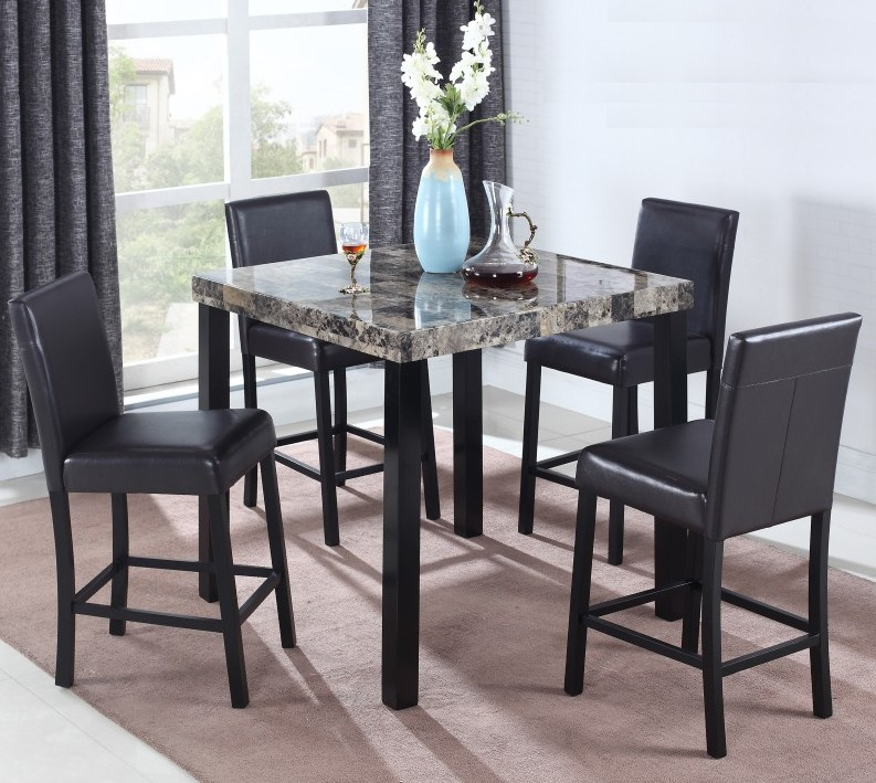 Best master CD037-5pc 5 pc Sheriff faux marble top square counter height dining table set