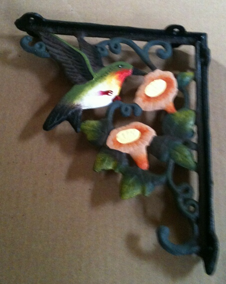 Cast iron multi colored hummingbirds wall and plant hanger