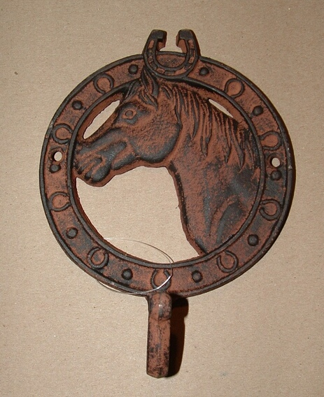 Cast iron antique rust horse head single hook wall hanger
