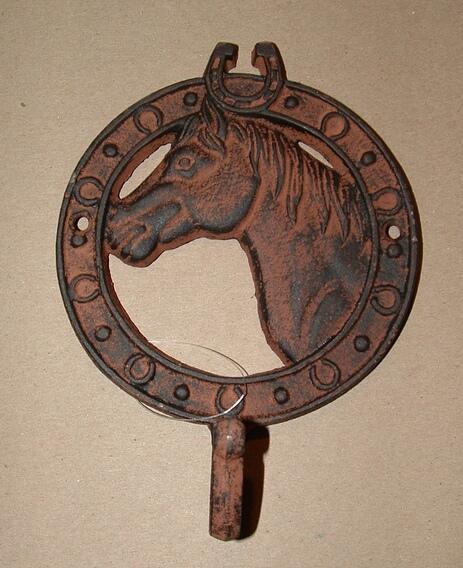 Cast iron antique rust horse head single hook wall hanger