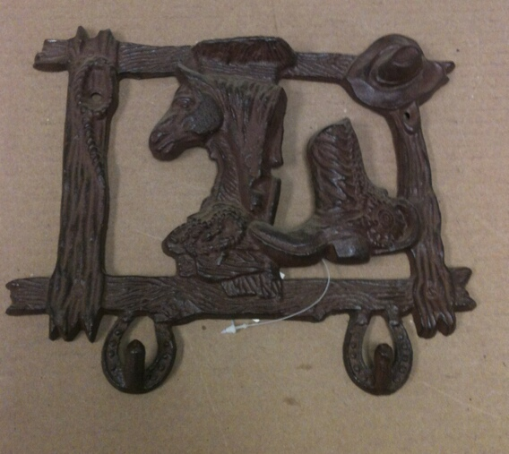 Cast iron horse cowboy hat and boot double hook wall hanger