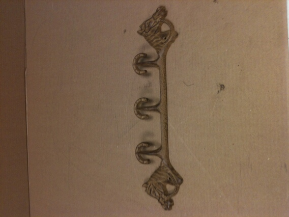 Cast iron antique light brown three hook two headed horses wall hanger