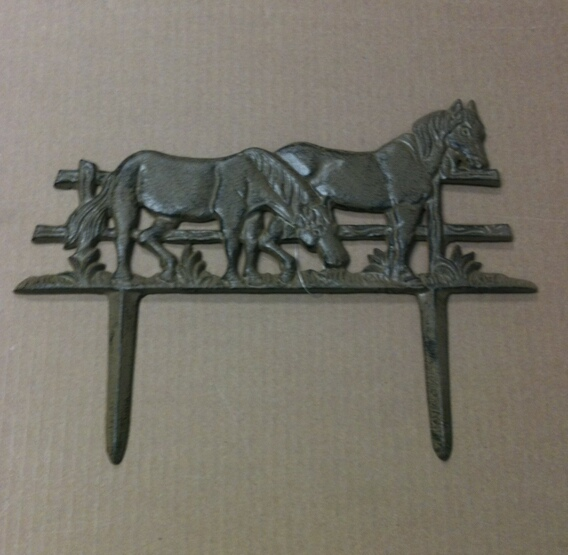 Cast iron two horses garden stake
