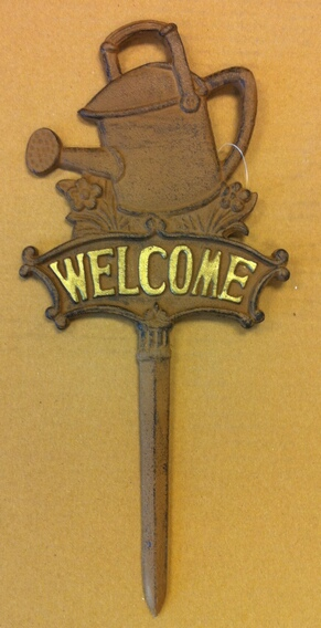 Cast iron welcome water bucket garden stake