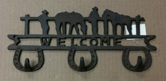 Cast iron cowboys & horses triple hook welcome wall hanger