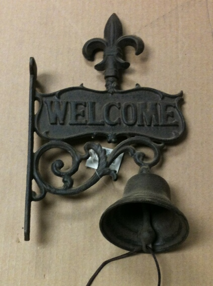 Cast iron antique brown welcome wall hanger w/bell