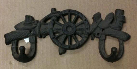 Cast iron cowboy gear double hook wall hanger