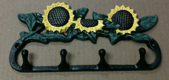 Cast iron multi color sunflower four hook wall hanger