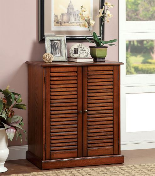 CM-AC213A Della country style oak finish wood louvered front cabinet door 5 shelf shoe cabinet