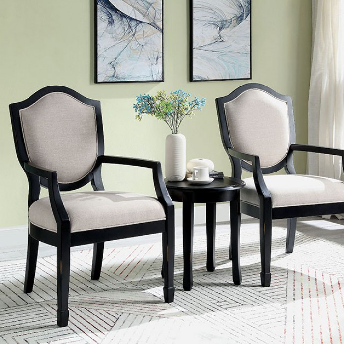 CM-AC6026BK-3PK 3 pc Bernetta fabric and black wood finish accent chairs accent table set