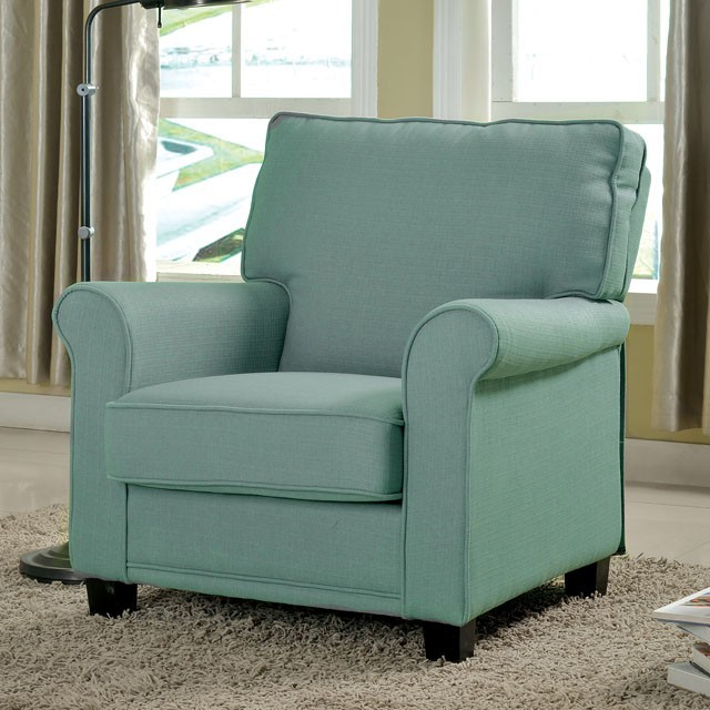 CM-AC6056BL Belem blue padded flax fabric accent chair with rounded arms