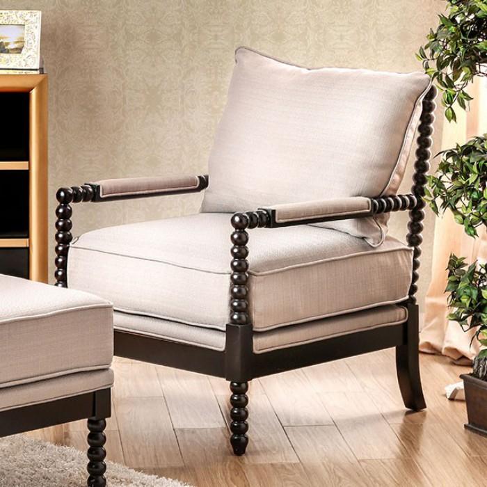 CM-AC6140BG  Sybil beige fabric and espresso finish wood frame accent chair