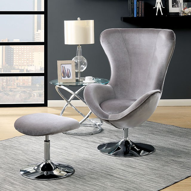 CM-AC6841GY 2 pc Shelia gray flannelette fabric rounded back accent chair and ottoman