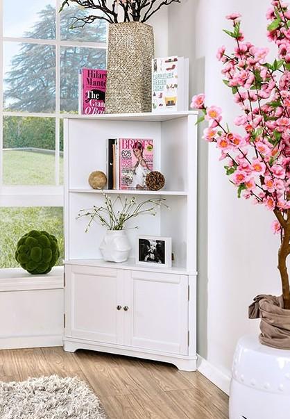 CM-AC807WH Cavan white finish wood corner bookcase shelf unit